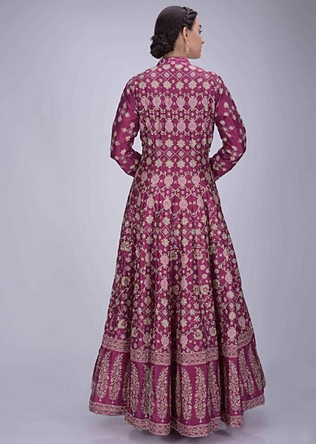 Rani Pink Anarkali Suit In Silk With Mauve Crepe Dupatta Online - Kalki Fashion