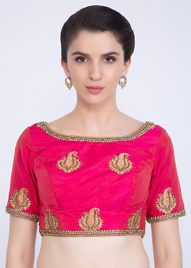 Rani pink silk blouse with embroidered butti and border only on kalki