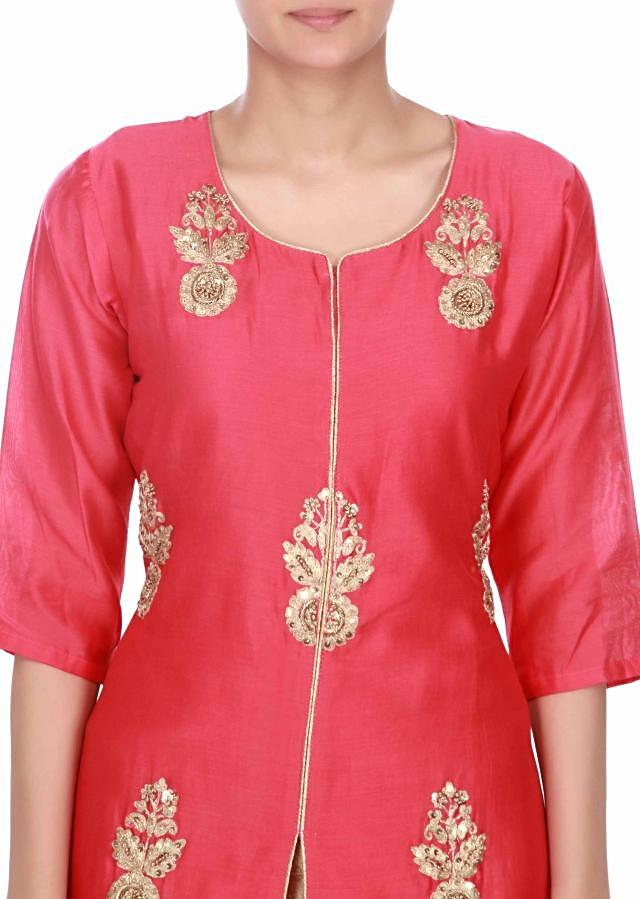 Rani pink straight suit with batik pant only on Kalki