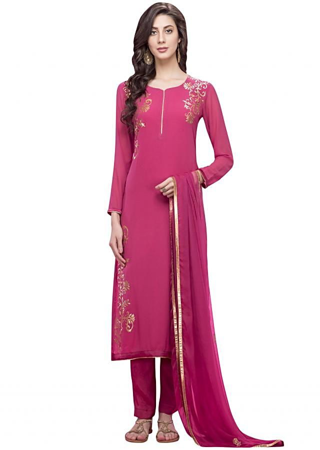 Rani pink straight suit in gold applique embroidery