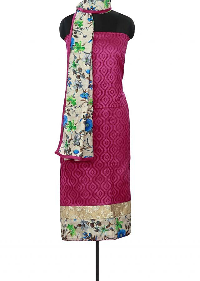 Rani pink unstitched suit enhanced in print and sequin only on Kalki
