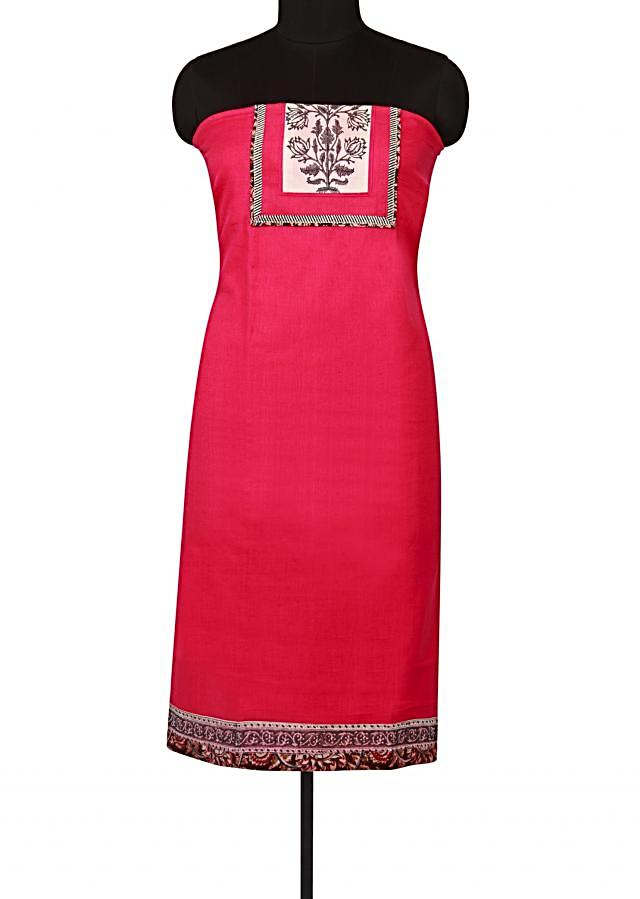 Rani pink unstitched suit with printed placket only on Kalki