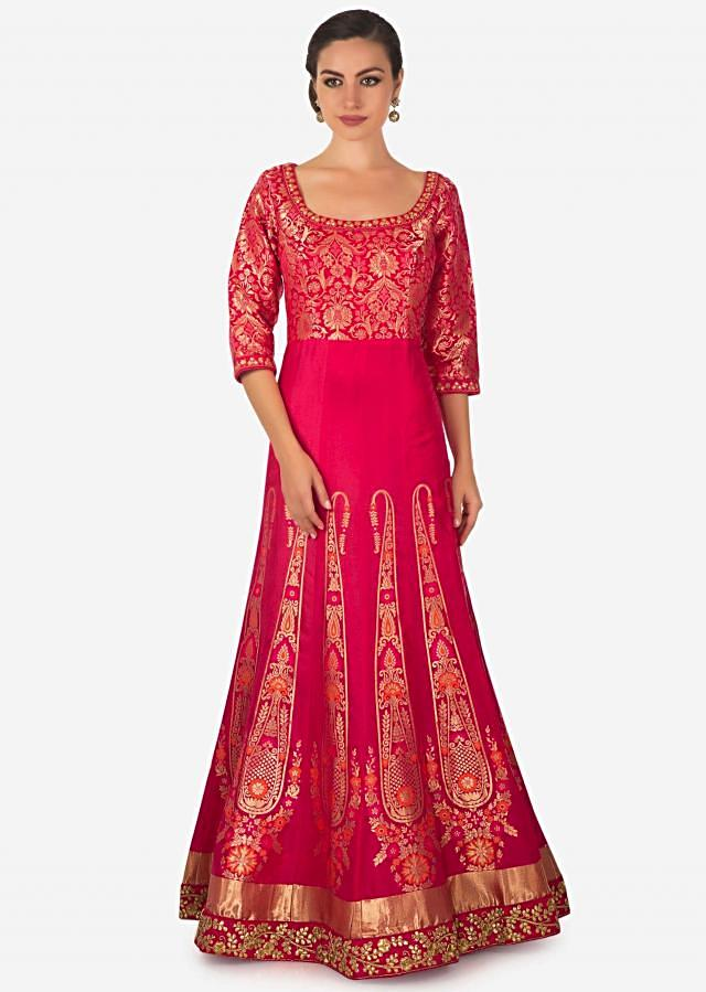 Rani pink brocade anarkali suit adorn in gotta patch embroidery only on Kalki