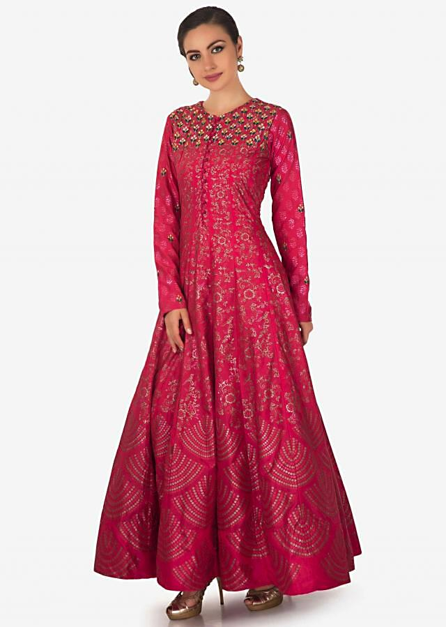 Rani pink brocade suit with foil print and embroidered yoke only on Kalki