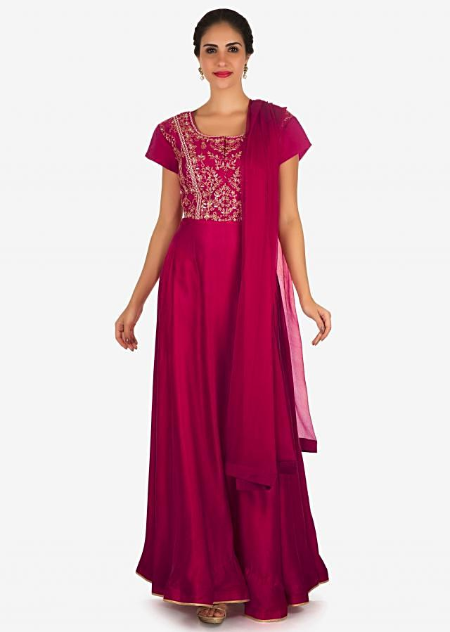 Rani pink anarkali suit in cotton silk adorn in gotapatti and zari work only on Kalki