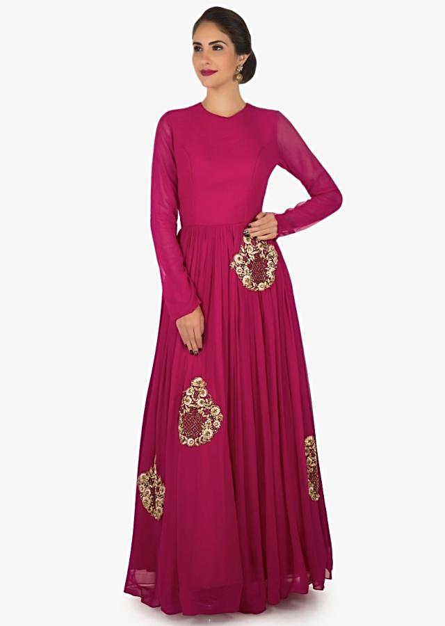 Rani pink anarkali suit in georgette beautified in resham and zari butti work only on Kalki