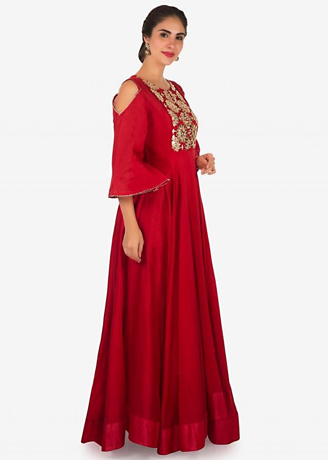 Red anarkali suit with embroidered placket and cold shoulder only on Kalki