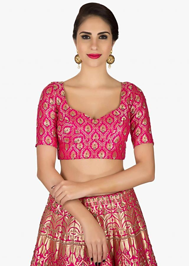 Rani pink brocade lehenga with a ready blouse in silk only on Kalki
