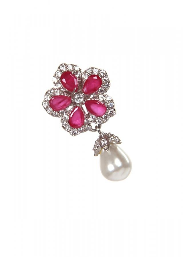 Rani pink flower earring with pearl dangler only on Kalki