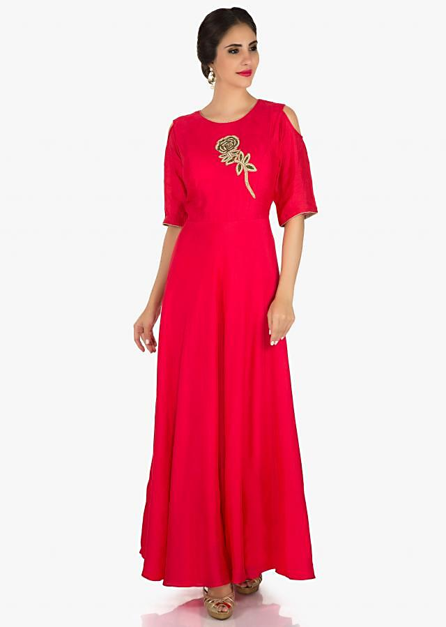 Rani pink gown in cotton with a rose motif featuring the zardosi work only on Kalki