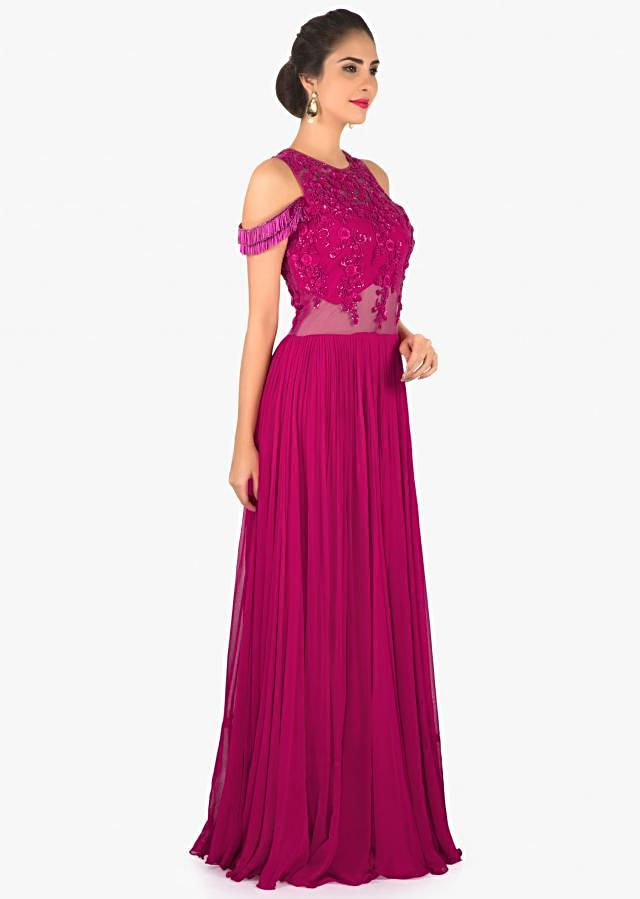 Rani pink gown in georgette with french knot and fancy tassel only on Kalki