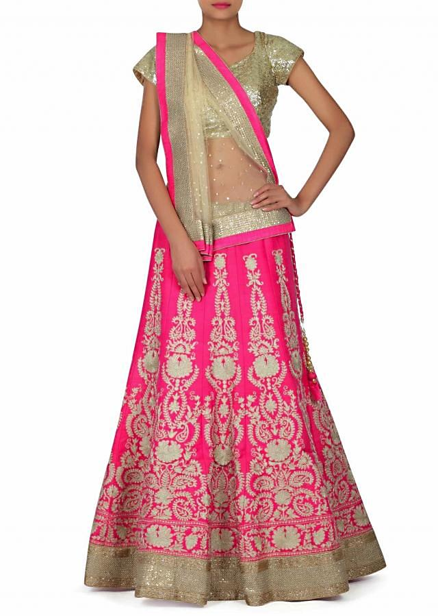 Rani pink lehenga adorn in aari embroidery only on Kalki
