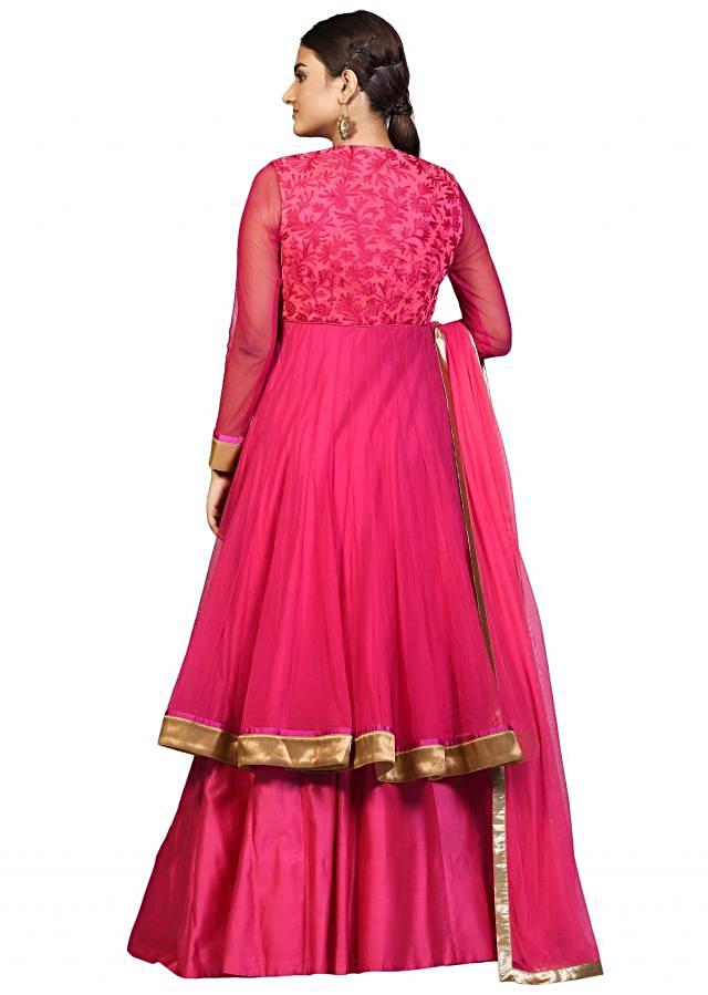 Rani pink lehenga in chanderi silk with resham embroidered long jacket