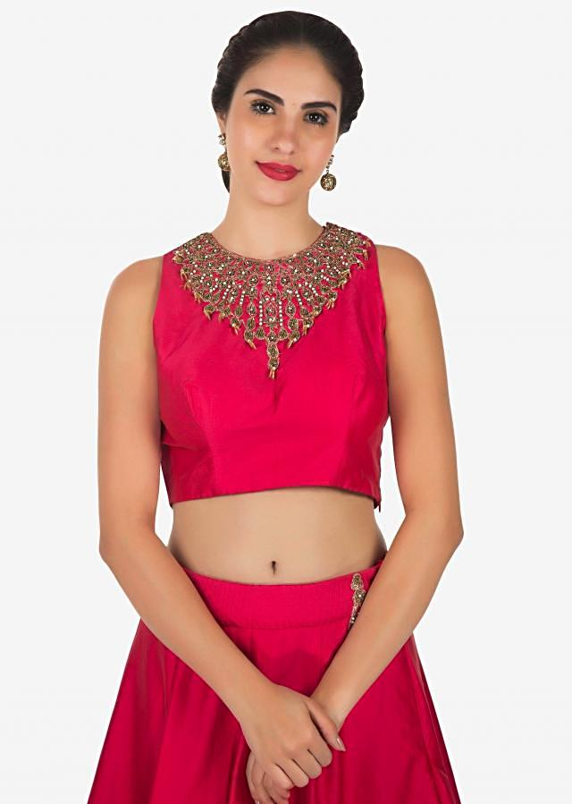 Rani pink lehenga in organza silk with moti and sequin work only on Kalki