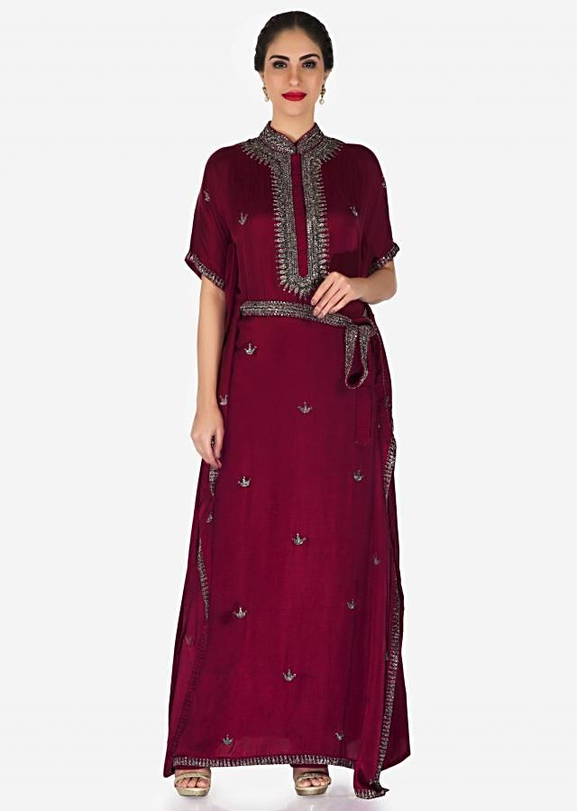 Rani pink long kaftans dress in silk with embroidered chinese collar only on Kalki