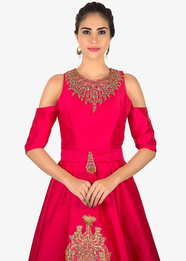 Rani pink organza silk gown with sequins and moti work only on Kalki