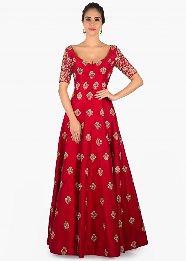 Rani pink raw silk anarkali suit with sequins butti only on Kalki