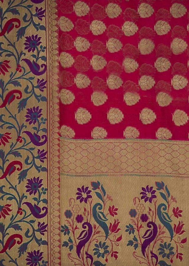 Rani pink saree in gold butti and floral pallav only on Kalki