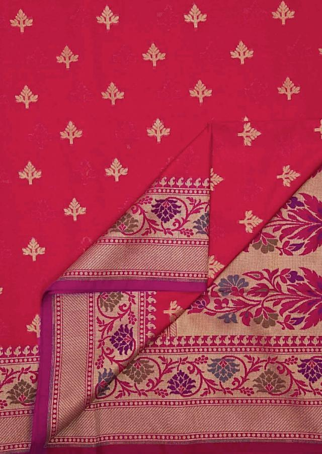 Rani pink saree in silk with weaved butti and brocade pallav only on Kalki