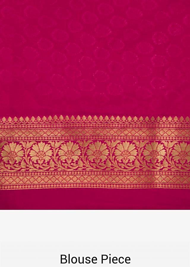 Rani pink saree in zari weaved butti and pallav border only on Kalki