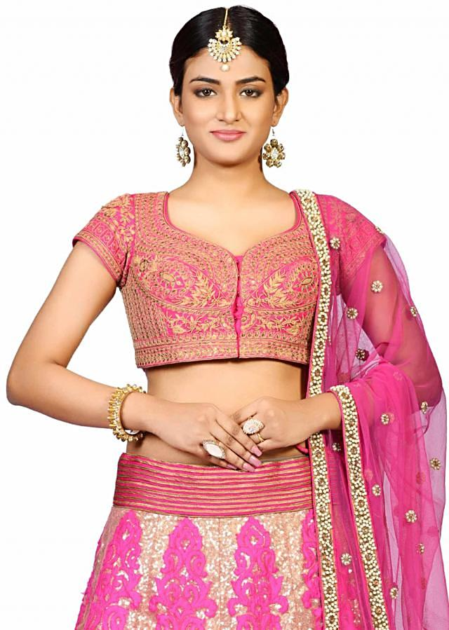 Rani pink sequin applique lehenga in net showcasing the applique and sequin thread work only on Kalki