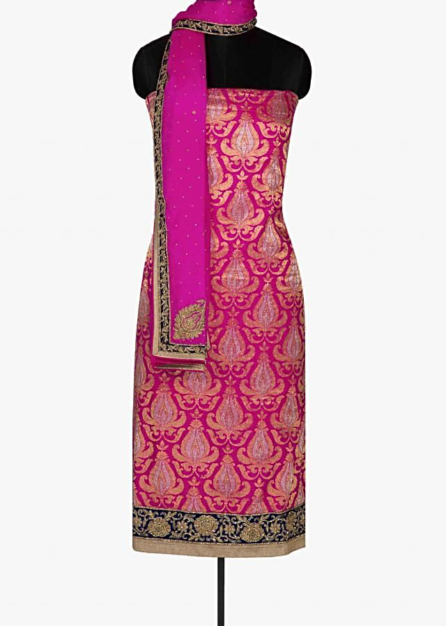 Rani pink unstitched suit featuring the brocade silk only on Kalki