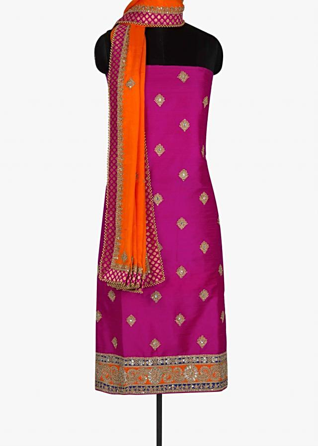 Rani Pink unstitched suit with gotta patch work only on Kalki