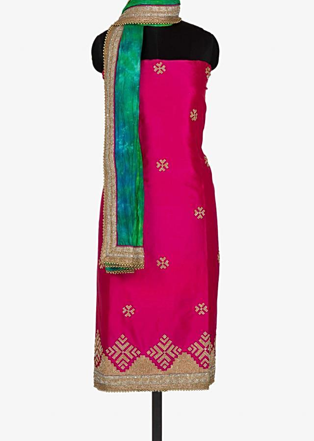 Rani pink unstitched suit with kundan butti work only on Kalki