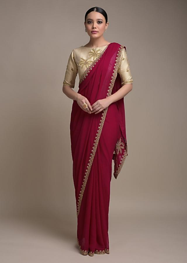 Raspberry Red Saree In Georgette Adorned With Cut Dana Embellished Border Online - Kalki Fashion