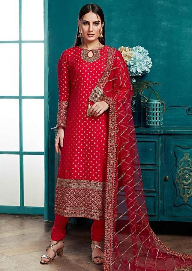 Raspberry Red Straight Cut Suit In Silk With Weaved Buttis And Embroidery Work Online - Kalki Fashion