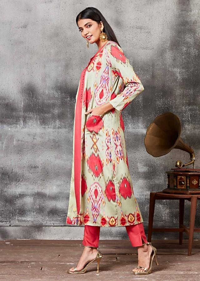 Raspberry Red Straight Cut Suit With Ikkat Printed Jacket Online - Kalki Fashion