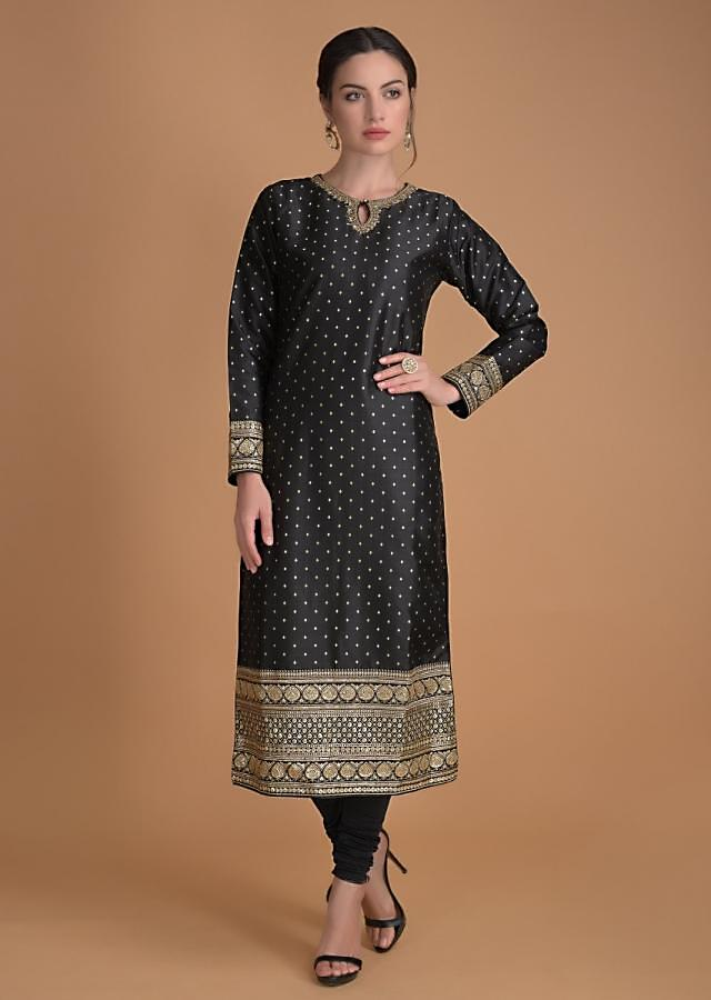 Raven Black Suit With Weaved Buttis And Sequins And Zari Embroidery Online - Kalki Fashion