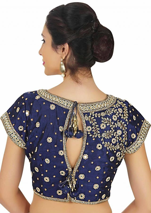 Raw silk blouse in navy blue with mirror embroidery only on Kalki