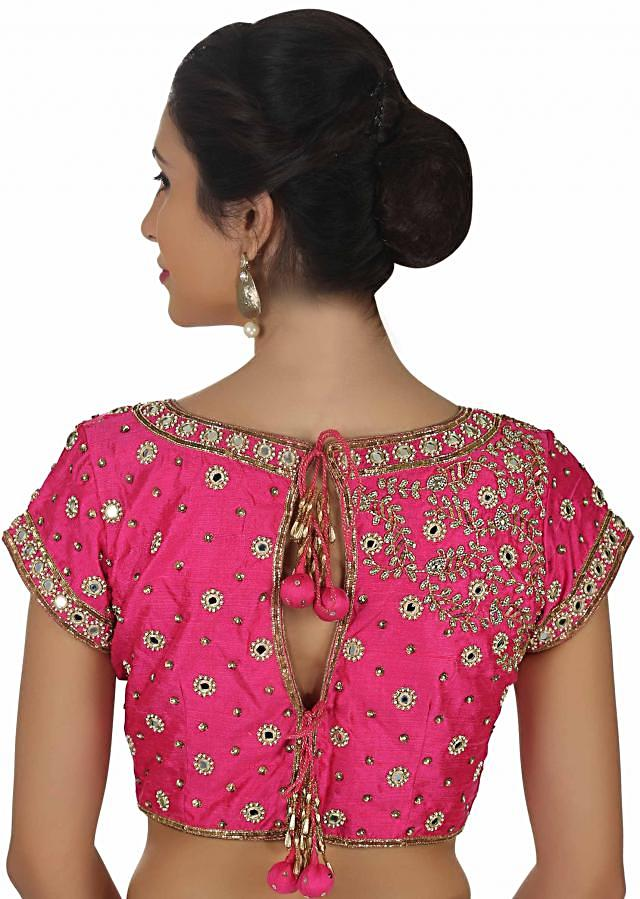 Raw silk blouse in Pink with mirror embroidery only on Kalki