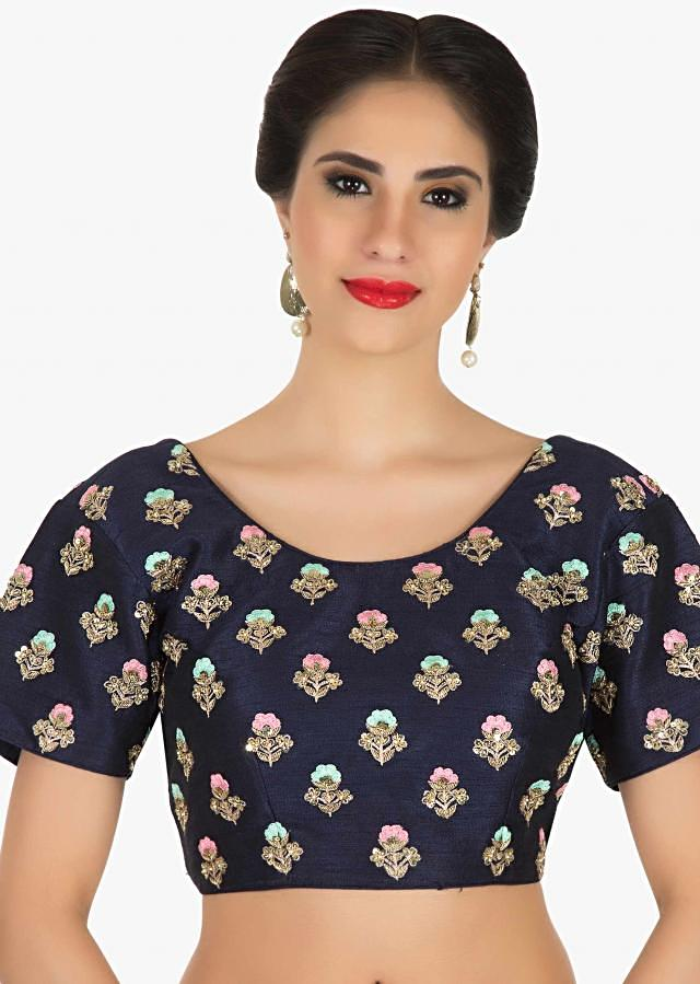 Raw silk blouse in navy blue with resham and zardosi embroidered butti only on Kalki