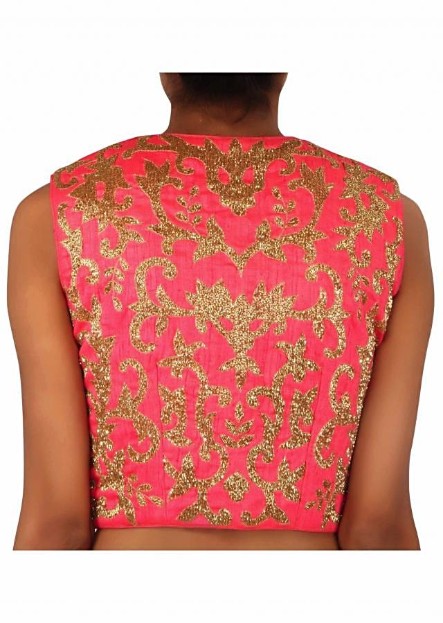 Ready blouse in coral silk with kundan embroidered work only on Kalki