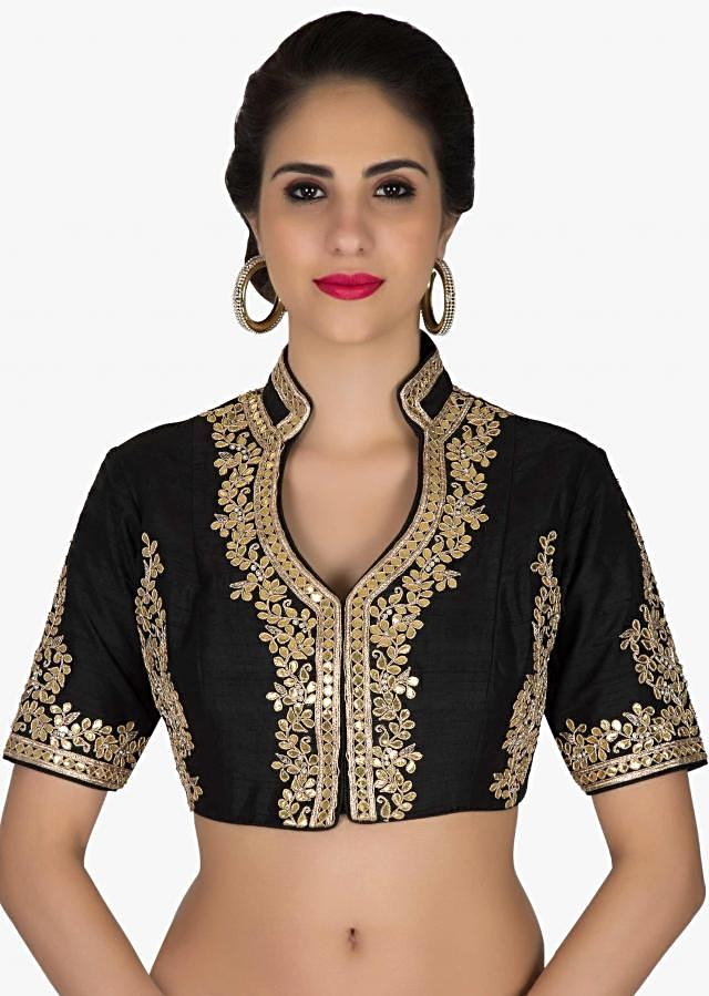 Readymade Black Silk Blouse with Gotta Patch Work only on Kalki