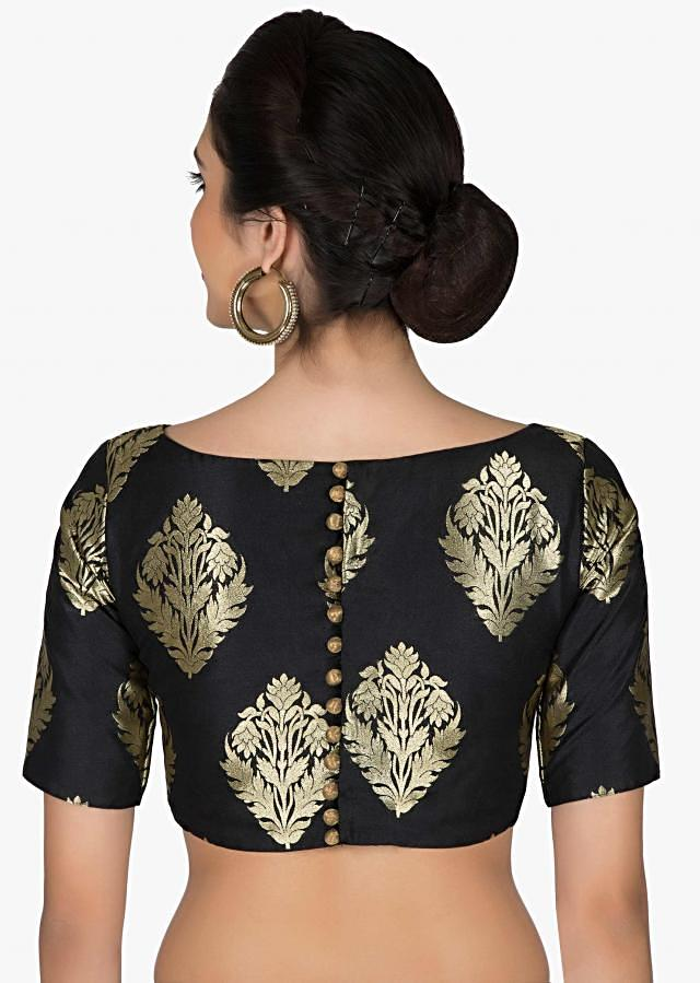 Readymade Black Silk Brocade Blouse with Floral Motifs only on Kalki