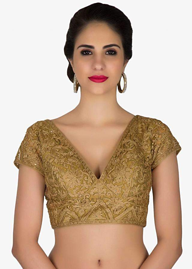 Readymade Gold Embroidered Net Blouse only on Kalki