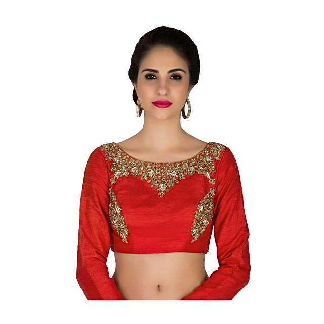Readymade Red Silk Blouse Adorned with Intricate Zardosi Work only on Kalki