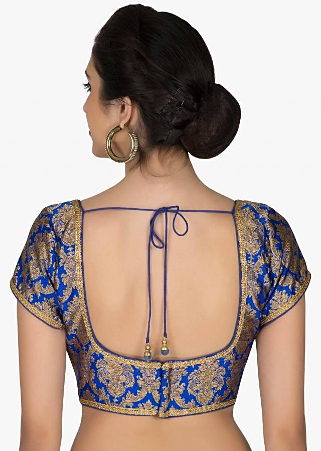 Readymade Royal Blue Silk Brocade Blouse only on Kalki