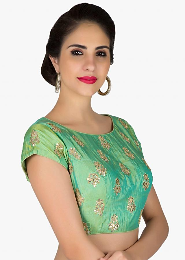 Readymade Sea Green Silk Blouse Featuring Gotta Patch Work only on Kalki