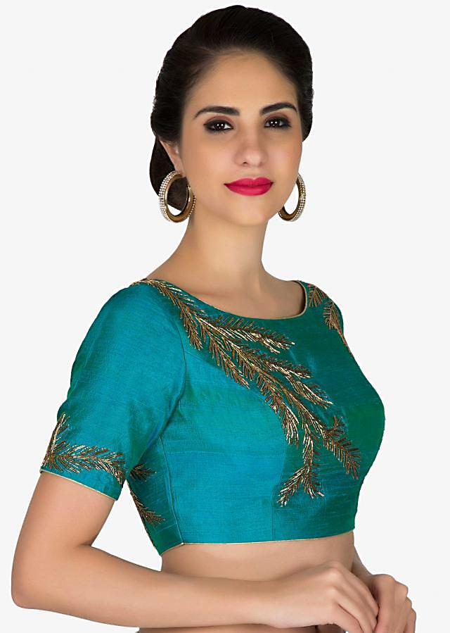 Readymade Teal Blue Silk Blouse Adorned with Zardosi only on Kalki