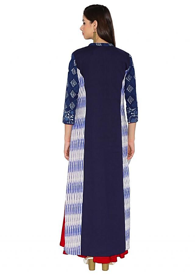 Red & Navy Blue Cotton Kurti With Ankle Length A-Line Only On Kalki