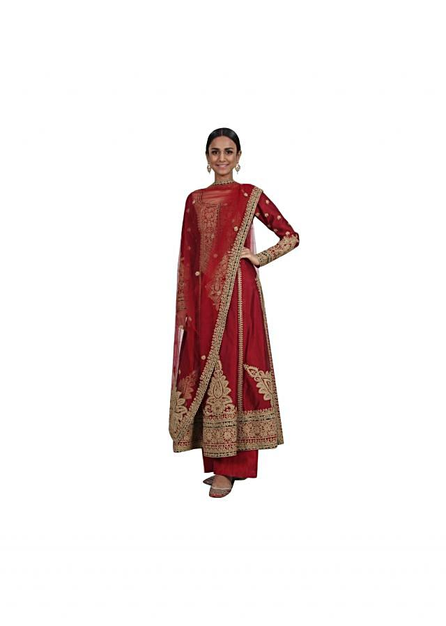 Red A line embroidered suit matched with silk pants