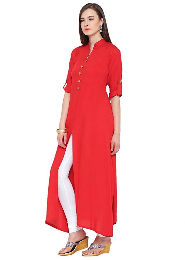 Red A Line Kurta with Front Slit