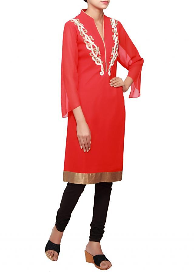 Red a-line kurti in georgette embellished in pearl only on Kalki