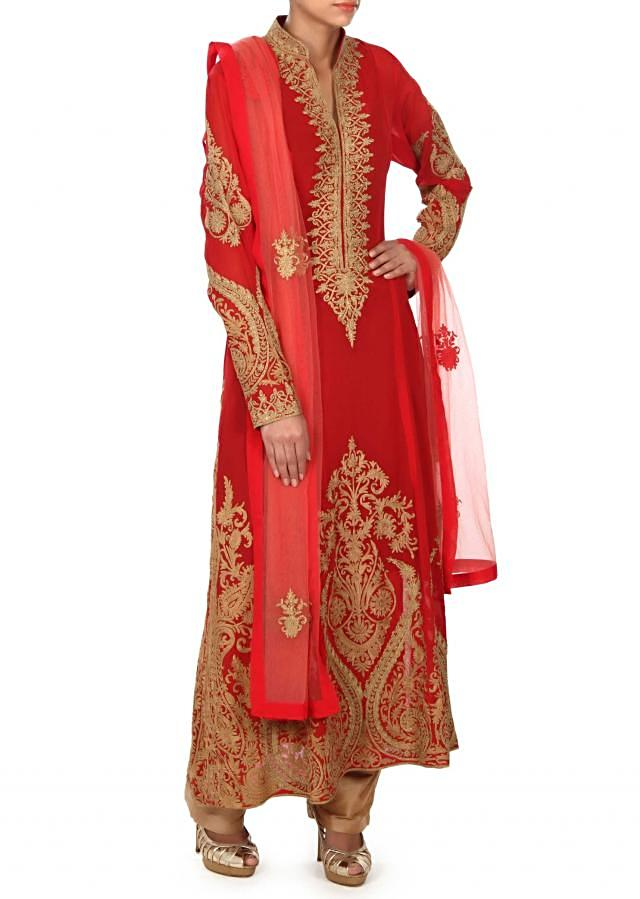Red A line suit adorn in zari embroidery only on Kalki