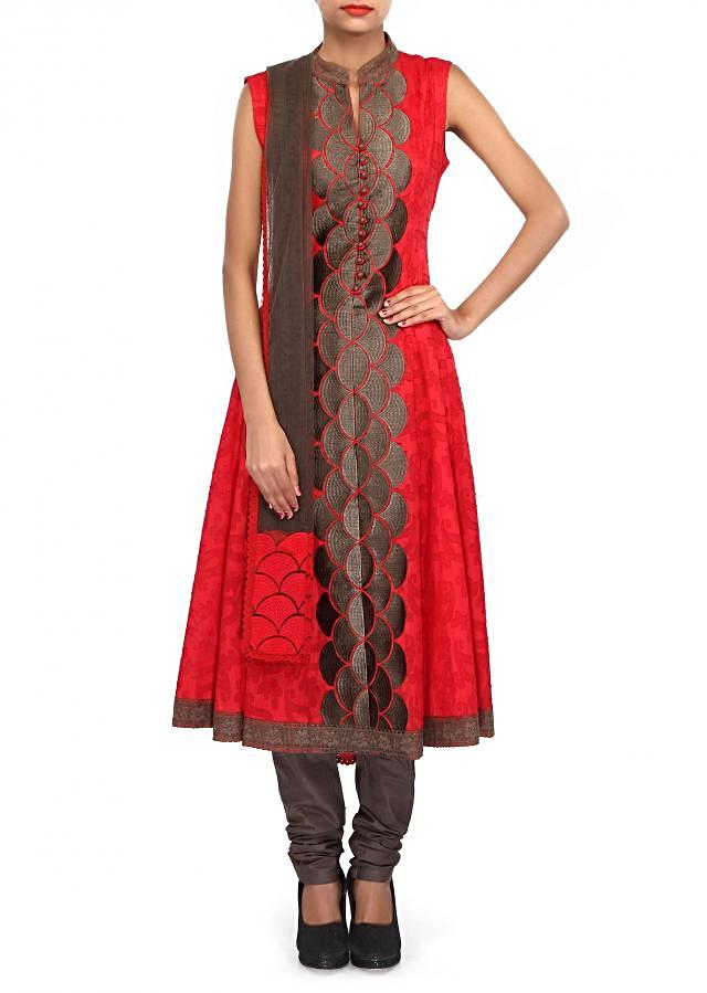 Red A-line suit embellished in resham embroidery only on Kalki