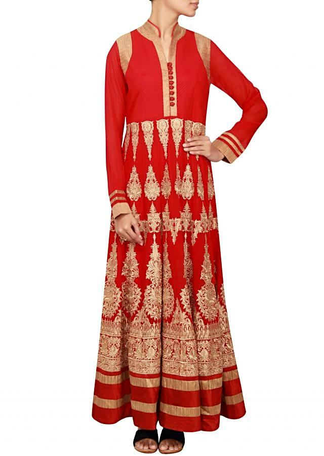 Red anarkali in georgette embellished in embossed zari only on Kalki
